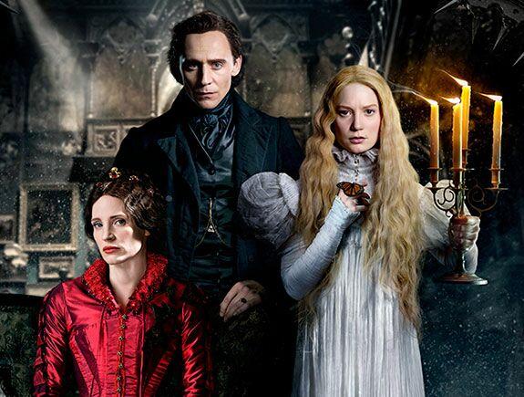 La cumbre escarlata, Guillermo del Toro, Mia Wasikowska, Jessica Chastain, Tom Hiddleston